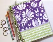 Three Ring Notebook Binder, 9 x 11, Kalocsai, Purple and Green