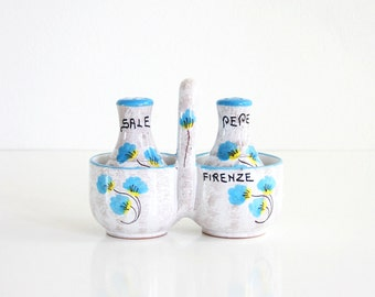 Vintage Salt and Pepper Shakers with Caddy / Vintage Italian Souvenir Salt and Pepper Shaker Set