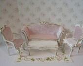 Dollhouse Lounge set, living room,  five piece set,  tatty chic white set,pink velvet,  Mini Sofa,  Twelfth scale dollhouse miniature