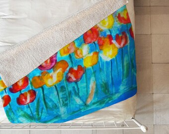 Tulips in Blue Sherpa Throw Blanket