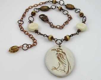 White Raven necklace, ceramic pendant and beaded copper chain
