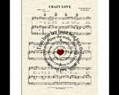 Crazy Love by Van Morrison Sprial Lyric Sheet Music Art Print, Love Song, First Dance Art, Names and Date, Custom Wedding & Anniversary