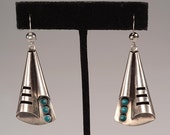 "Free US Shipping -VINTAGE Native American Sterling, Turquoise Earrings - 2 1/4"" including ear wire - No Maker's Mark, Poss. Navajo 1960's"