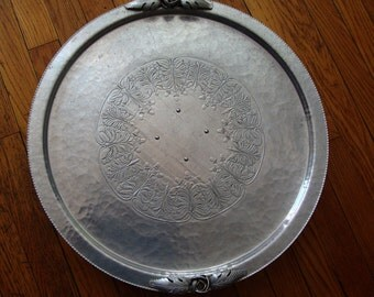 "Vintage (1960's) 18"" diameter Aluminum ""Lazy Susan"" on a 3"" tall, smoothly revolving pedestal:  Continental Trade Mark"