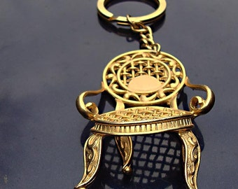 Vintage KEY CHAIN c.1960's:  Gold Tone French Side Chair - style of Lagerfeld - unsigned
