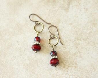 Red Hoop Earrings, Small Hoop Earrings, Red Rhinestone Earrings, Red and Antique Brass, Bohemian Style, Boho Style Earrings, Czech Glass