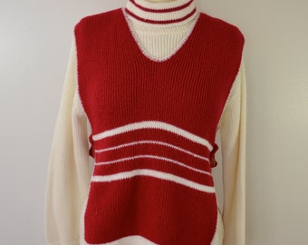 Vintage Women's SWEATER SET Bib over Turtleneck Heritage Knitwear made in usa acrylic