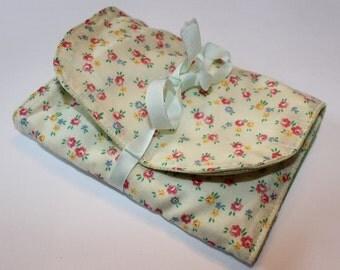 SALE! Vintage Cotton and Satin 3-Pocket Jewelry Storage Travel Case, Handmade