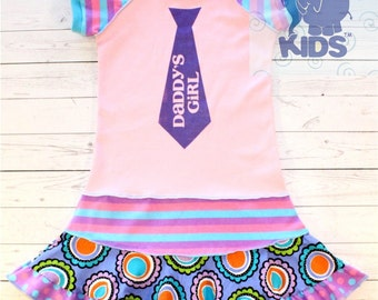 """DADDY""""S GIRL  super cool funky hand silk screened recycled upcycled  pieced  size 5T"""