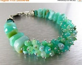 BIGGEST SALE EVER Peruvian Opal and Chrysoprase Sterling Silver Cluster Bracelet