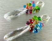 BIGGEST SALE EVER White Crystals And Colorful Gemstone Sterling Silver Earrings