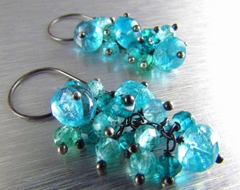 25% Off Summer Sale Colorful Apatite And Quartz Oxidized Silver Cluster Earrings