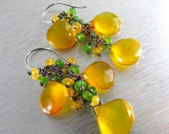 BIGGEST SALE EVER Yellow and Green Gemstone Cluster Dangle Earrings