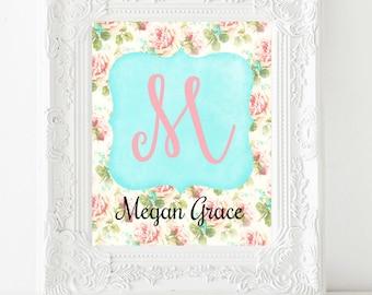 Personalized Nursery Print, Nursery Wall Art, Custom Name Print, Girl Room Decor, Child Wall Art, Baby Girl Nursery, Toddler Gift, Pink Teal