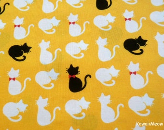 Kawaii Japanese Fabric - Cute Cats on Yellow - Half Yard - (sh151016)