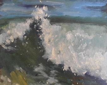 "Impressionist Seascape, Ocean Painting, Wave Painting, Daily Painting, Small Oil Painting, ""Cresting"" 8x8x1.5"" Original Oil"