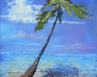 Palm Tree on Beach Giclee Print, Print on Canvas, choose your size, ready to hang, free shipping