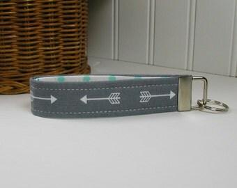 Key Fob Wristlet, Keychain, Fabric Key Fob ..Arrows in Gray