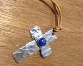 Silver Cross necklace Cross on leather pendant-with Lapis lazuli.Jesus-Christian symbol Love Jesus-Men Cross Hammered Cross-unisex