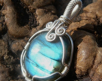 Teal Labradorite and Sterling Silver Wire Wrapped Pendant ~ Natural Stone Jewelry, Healing Stone, Handcrafted, Mystical, Faerie, Meditation