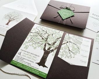 Sample Oak Tree Wedding Invitation Rustic Wedding Invitation, Pocketfold Wedding Invitations Summer Wedding Invitations Printable