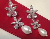 CUPID SALE xOx Bridal Jewelry Wedding Earrings Pearl Dangle Earrings CZ Diamond Look Wire Wrapped Pearl Luxury Fashion Post Earrings