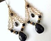 CUPID SALE Black Tourmaline Chandelier Earring Gold Fill Chain Wire Wrap Petite Chandelier Black Spinel Gem Stone Black Crystal Boho Chic