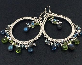 SUMMER SALE Luxury Gemstone Hoop Earring Colorful Chandelier Sterling Silver Wire Wrap Statement Bohemian London Blue Topaz Labradorite Boho