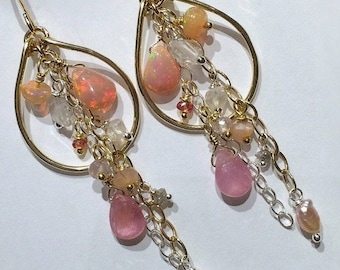 SUMMER SALE Opal Hoop Earring Gold Hoop Earring Pastel Gem Hoop Gemstone Chain Chandelier Boho Chandelier Beaded Gold Hoop Blush Opal Hoop R