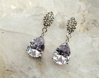50% OFF SALE Pave CZ Diamond Look Post Earrings Holiday Fashion Black Tie Earrings Diamond Cz Statement Dangle Earrings Christmas Gala Red C