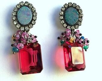 CUPID SALE Australian Black Opal Earring, Sapphire Gemstone Cluster, Diamond Bezel Style, Pink Tourmaline Quartz Earrings
