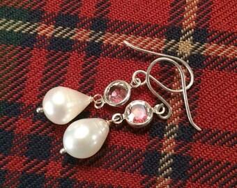 VALENTINES SALE Ivory Pearl Earrings Sterling Silver Drop Earrings Handmade Pearl and Swarovski Drop Earrings Simple Bridal Earrings