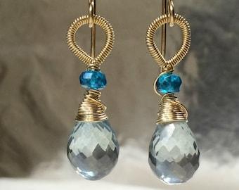 Blue Green Earrings Wire Wrap Dangle Earrings Coiled 14k Gold Fill Teal Earrings Simple Everyday Teal Drop Dangle Single Briolette Earrings