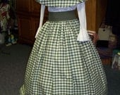 SALE Victorian Civil War Ladies Outfit drawstring Skirt and cape Olive green and beige Plaid Homespun with green Sash one size fit all