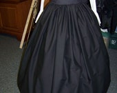Civil War, Dickens costume Long Drawstring SKIRTone size fit all black solid cotton skirt Handmade