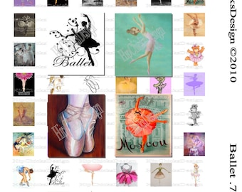 INSTANT DOWNLOAD - Ballet -  Scrabble .75 x .83 Collage Sheet - Digital Collage Sheet