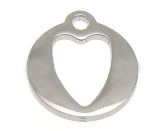 Stainless Steel Heart Pendant Charm x 3