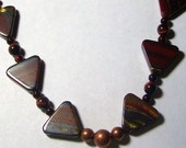 Brown Tiger Eye Gemstone Triangles with Antiqued Copper Beads Necklace by Carol Wilson of Je t'adorn