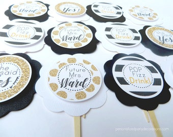 Bridal Shower Cupcake Toppers, Bridal Shower Decorations, Kate Spade Decor, Kate Spade Bridal Shower, Black and Gold, Black and White Decor
