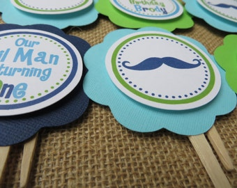 Boy Birthday Decorations, Mustache Birthday Decorations, Birthday Decorations, Mustache Birthday CUPCAKE TOPPERS, You Choose The Colors