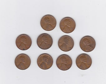 lot of 10 1939 Lincoln wheat pennies