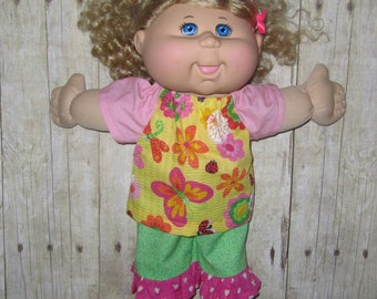 """Cabbage Patch Kids Doll Clothes Pink  Yellow Green Flower  Top and Short Set 14"""" Doll Adoptimals Includes Pink Shoes"""