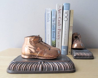 pair bronzed baby shoes bookends vintage copper baby shoe