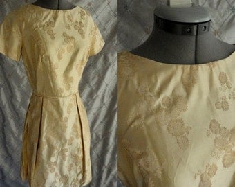 60s Dress //  Vintage 1960's Gold Brocade Party Dress Size M 27 waist golden yellow