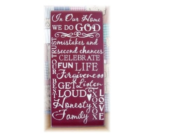 In our house we do... Typography  wood sign subway art