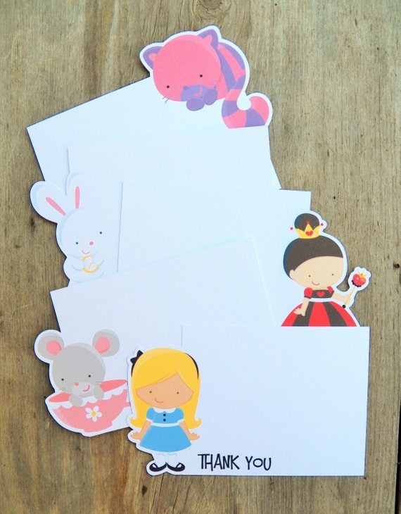Alice in Wonderland Friends - Set of 8 Assorted Wonderland Thank You Cards by The Birthday House