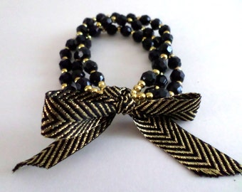 3 Strand Stretch Beaded Bracelet in Black & Gold | Ribbon Bow Bracelet | Cyber Monday - Christmas Gift | Ready to Ship | Handmade in USA