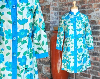 60s Floral Silk Tunic Dress, Mandarin Collar, Vibrant Color Flowers and Butterflies, Turquoise, Blue, Green