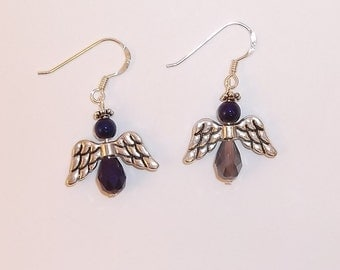Purple and Silver Angel Earrings - 1399