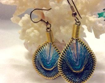 Peruvian string vintage 1980's hoop earrings.